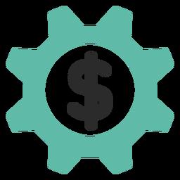 Icono de engranaje de dinero