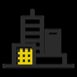 Ícone de traço colorido de edifícios de escritórios