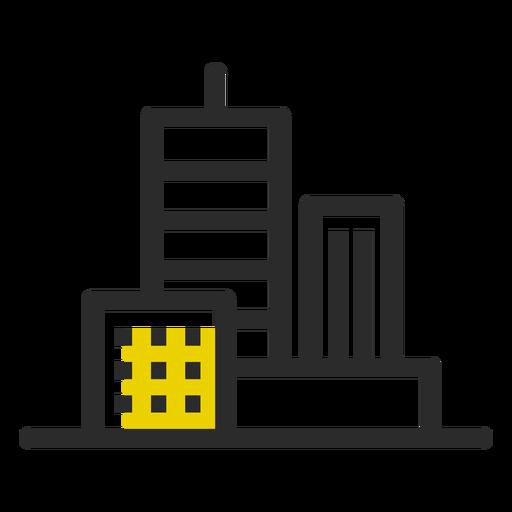 Ícone de traço colorido de edifícios de escritórios Transparent PNG