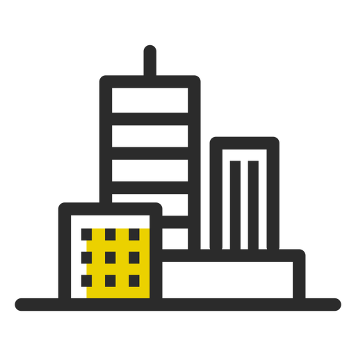 Office buildings colored stroke icon