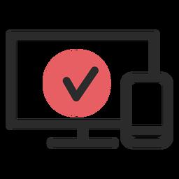 Optimierte Website farbiges Strichsymbol