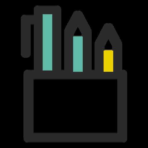 Ícone de traço colorido de suporte de lápis Transparent PNG