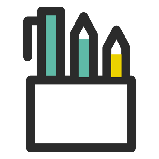 Pencil holder colored stroke icon Transparent PNG