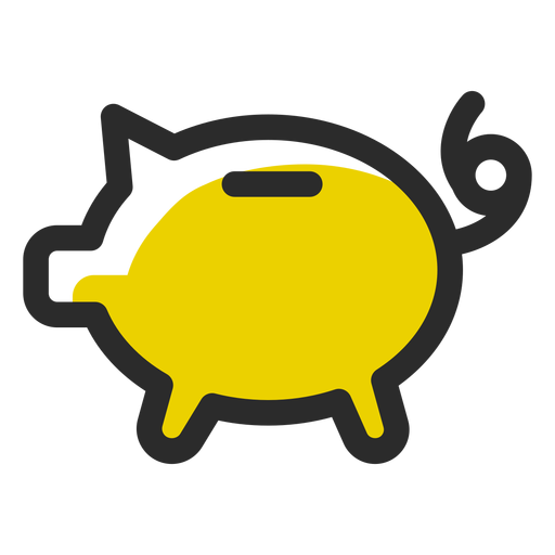 Pig money box colored stroke Transparent PNG