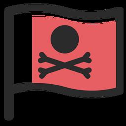Ícone de traço colorido de bandeira de pirata