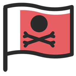 Piratenflagge farbige Strich-Symbol
