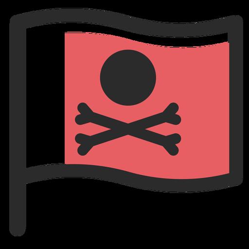 Ícone de traço colorido de bandeira de pirata Transparent PNG
