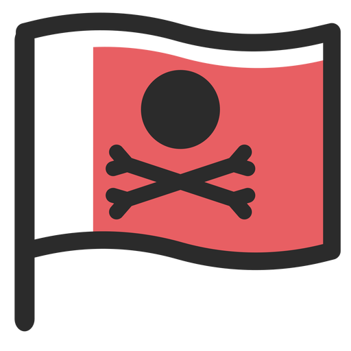 Pirate flag colored stroke icon Transparent PNG