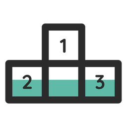 Icono de trazo de color podio