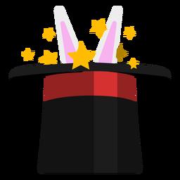Coelho em ícone de chapéu de mago