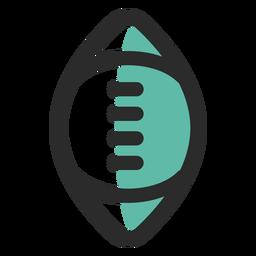 Ícone de traço colorido de bola de rugby