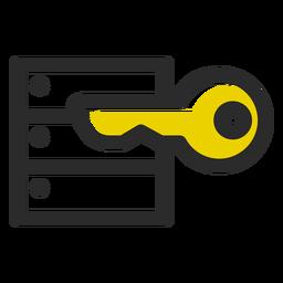 Icono de trazo de color clave de seguridad