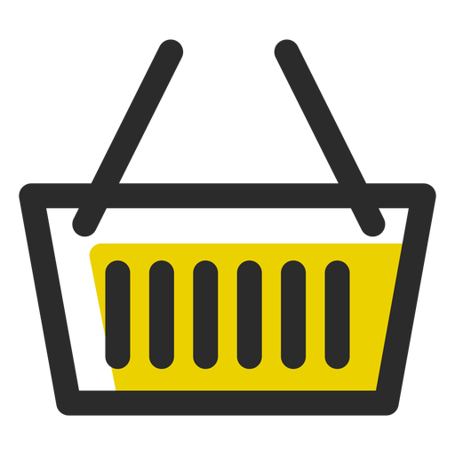 Shopping basket colored stroke icon Transparent PNG