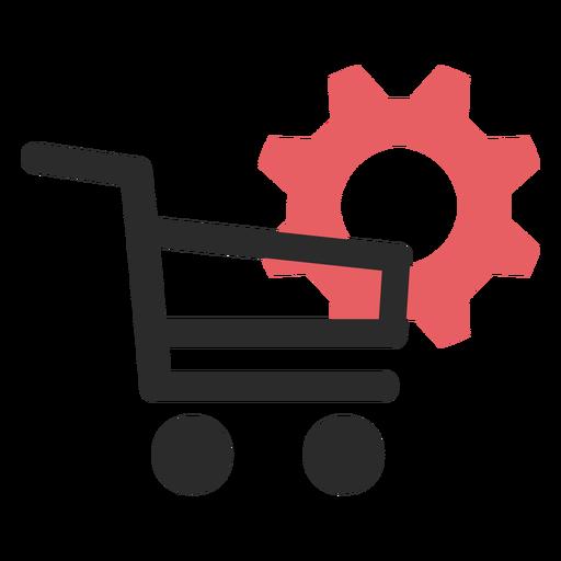 Ícone de traço colorido de configurações de compras Transparent PNG