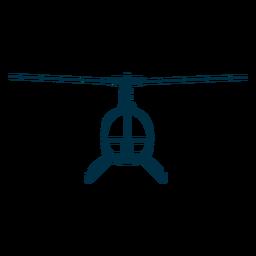 Silhueta de frente de helicóptero de assento único