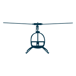 Silueta frontal de helicóptero de un solo asiento