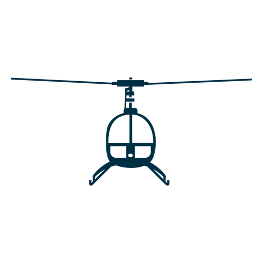 Single seat helicopter front silhouette Transparent PNG