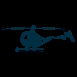 Silueta de helicóptero de un solo asiento.