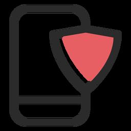 Ícone de traço colorido de segurança de smartphone