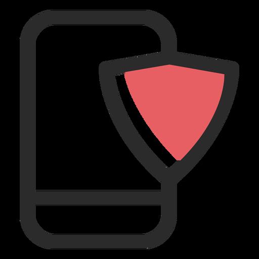 Ícone de traço colorido de segurança de smartphone Transparent PNG