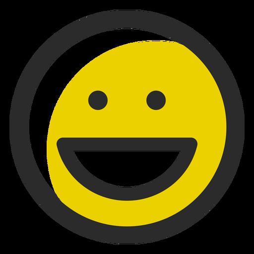 Emoticon de traço colorido sorridente Transparent PNG