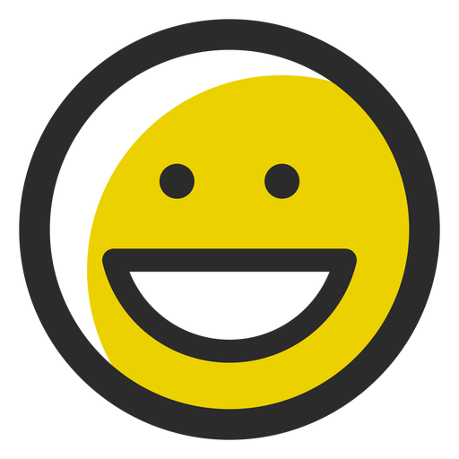Emoticon de trazo de color sonriente Transparent PNG