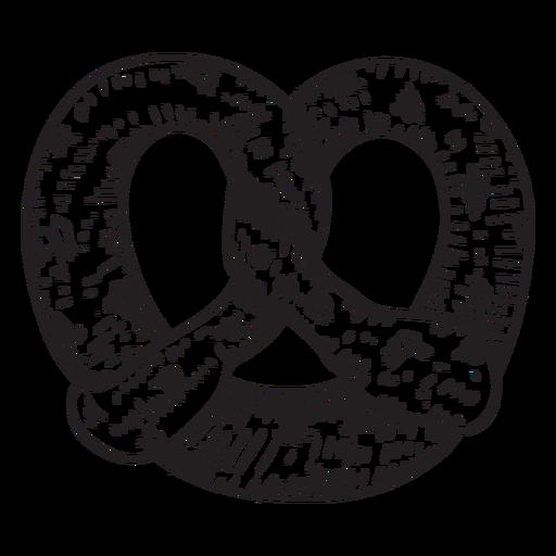 Suave pretzel dibujado a mano. Transparent PNG