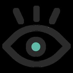 Ojo de vigilancia coloreado icono de trazo