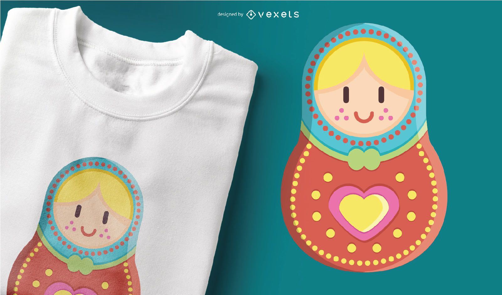 Cute Matryoshka Russian Doll Colorful T-shirt Design