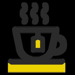 Taza de té coloreada icono de trazo
