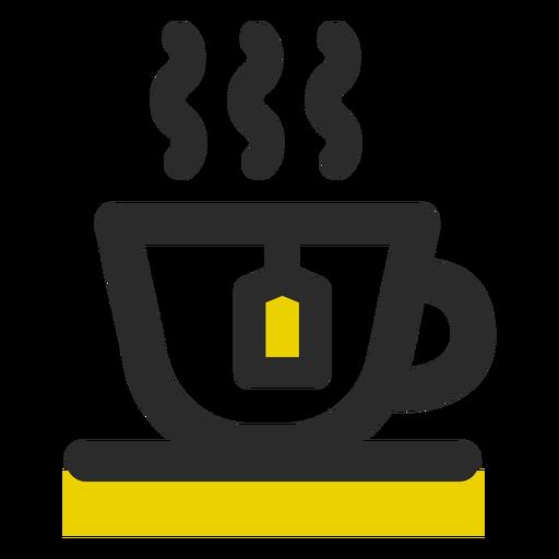 Taza de té coloreada icono de trazo Transparent PNG