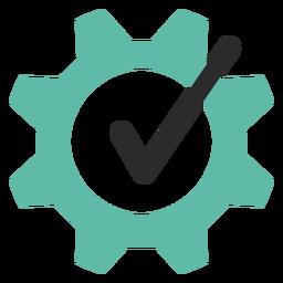 Icono de trazo coloreado de engranaje de garrapata
