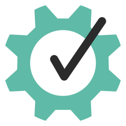 Tick gear colored stroke icon