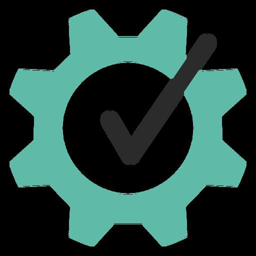Icono de trazo coloreado de engranaje de garrapata Transparent PNG