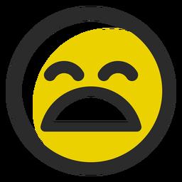 Emoticon de trazo de color cansado