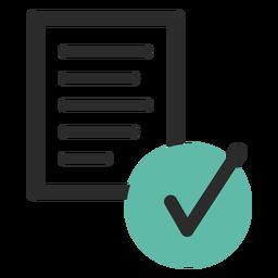 Icono de color corregido del documento verificado