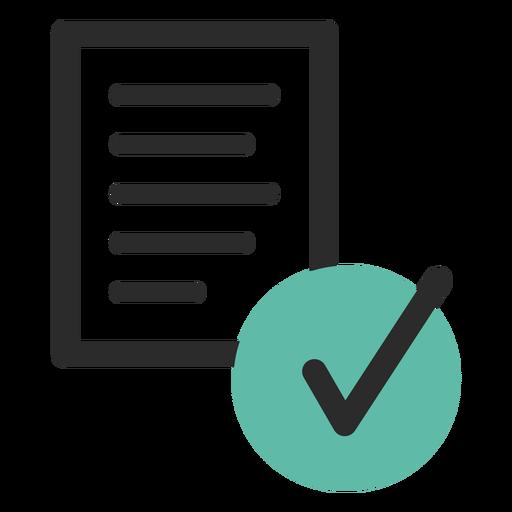 Ícone de traço colorido documento verificado Transparent PNG