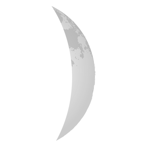 Waxing crescent realistic moon icon Transparent PNG