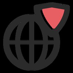 Ícone de traço colorido de escudo da Web