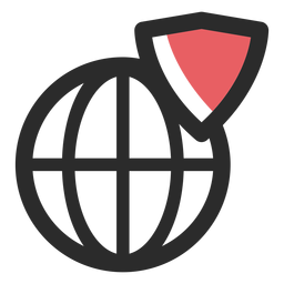 Web shield colored stroke icon