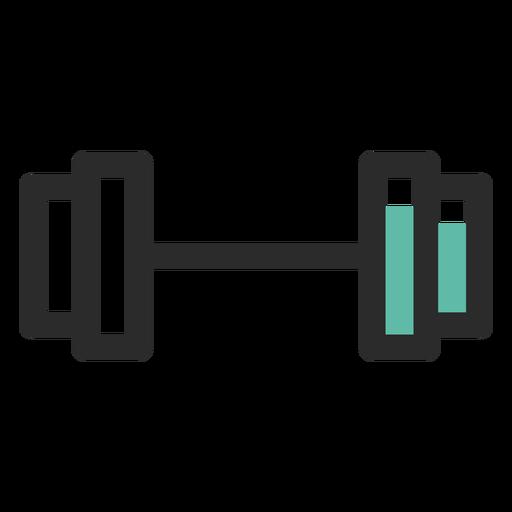 Icono de trazo de color de barra de levantamiento de pesas