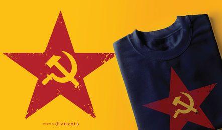 Design de camiseta vermelha soviética com estrela de cinco pontas