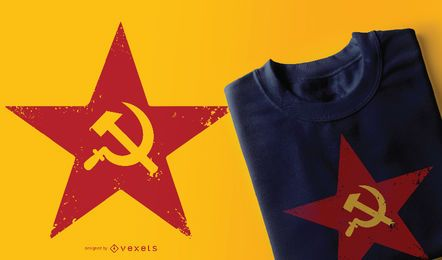 Rotes sowjetisches T-Shirt-Design mit fünf Punkten