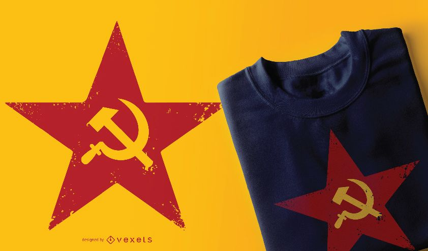 Red Soviet Five-Point Star T-shirt Design