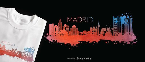 Projeto do t-shirt da skyline da aguarela de Madrid