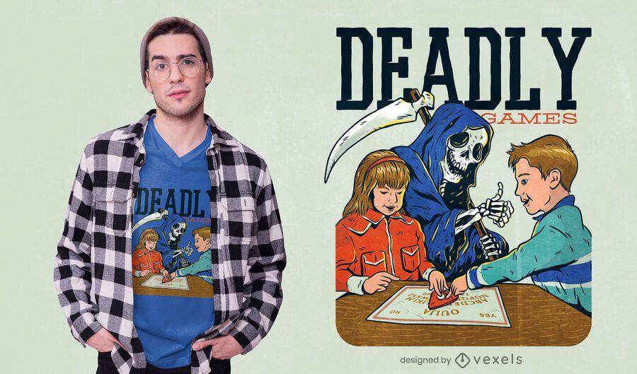 Design engraçado do t-shirt da paródia dos jogos mortais