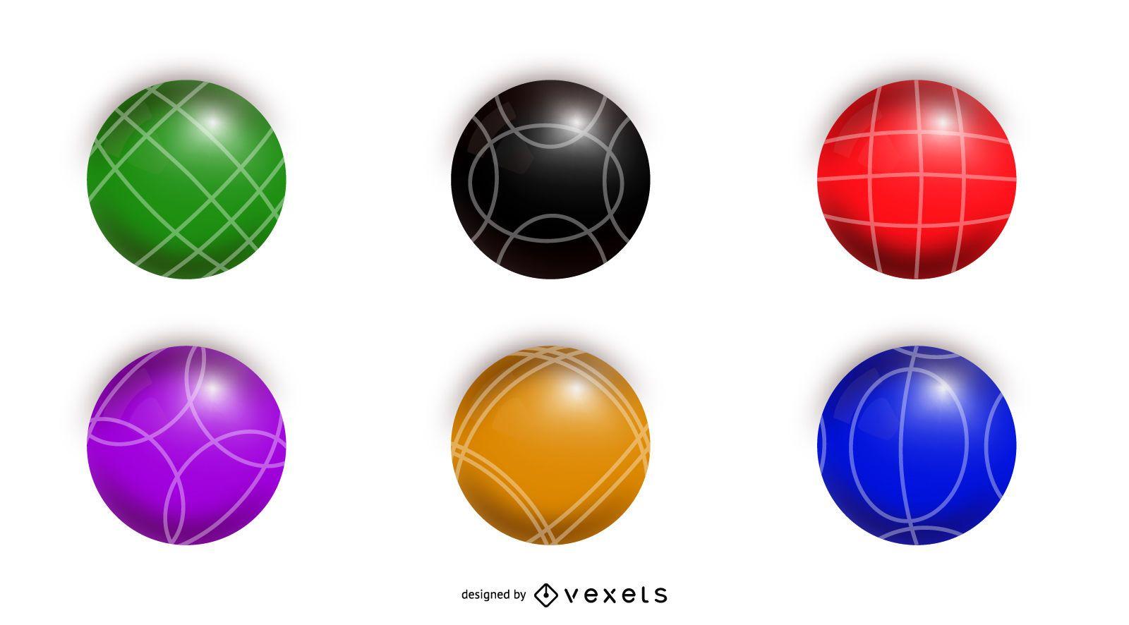 Gráfico de conjunto de bolas coloridas de bolas de bocha