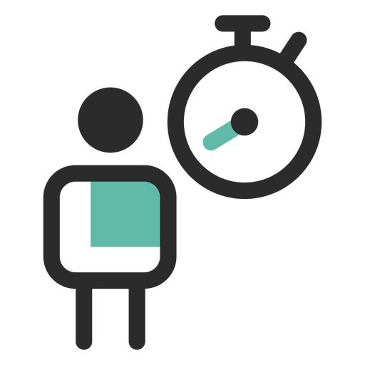Ícone de traço colorido de tempo de trabalho Transparent PNG