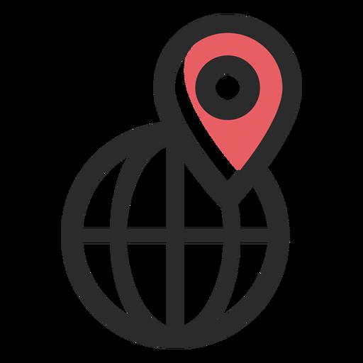 Ícone de traço colorido de localização mundial Transparent PNG