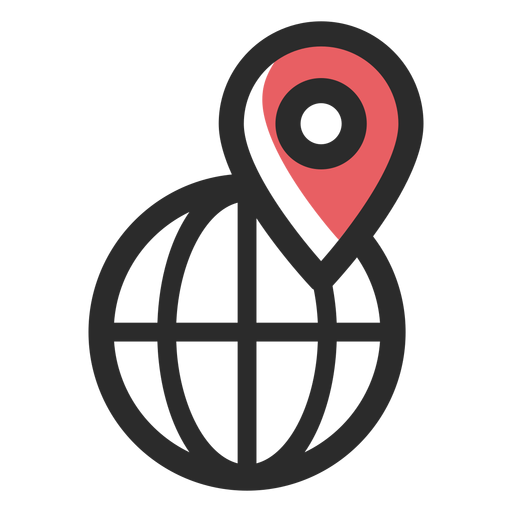 Icono de trazo coloreado de ubicación mundial Transparent PNG